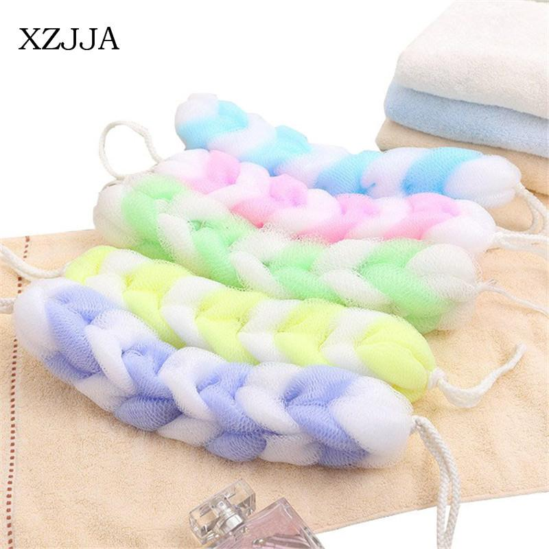 XZJJA Double Color Long Bath Flower Bathroom Shower Gel Foaming Tools For Body Wisp Dry Brush Exfoliation Back Rubs Sponge