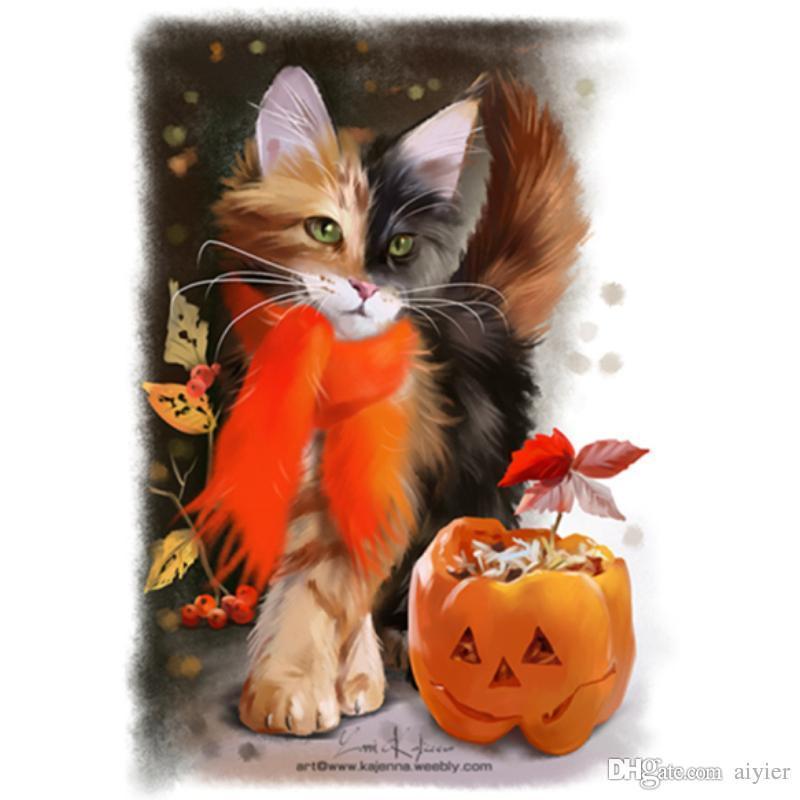 5D DIY pittura diamante pieno immagine intarsiato diamante ricamo zucca arancione sciarpa gattino moda artigianato arte regalo decorazione pendente
