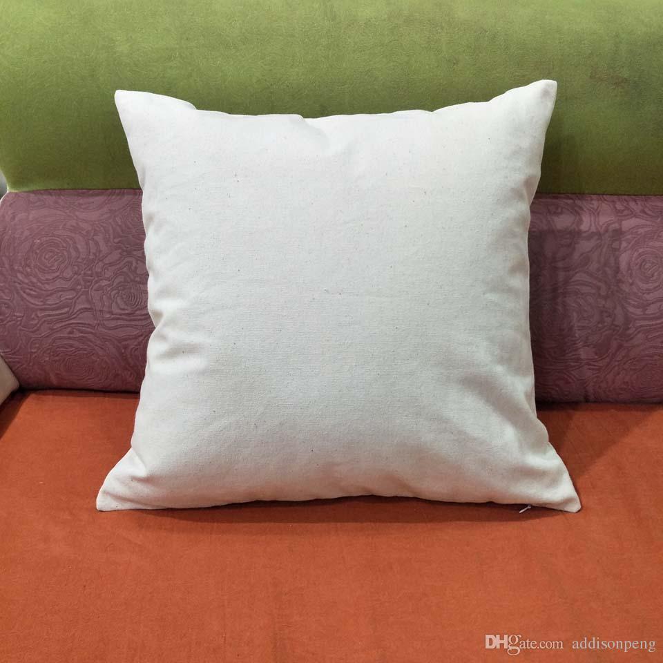12oz boş kalın doğal pamuk kanvas yastık kılıfı 18x18in düz ham pamuk boş yastık kapak DIY baskı / nakış stok mevcut