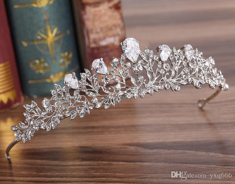 H1096 Bohrer Gruppe Braut Legierung Zirkon Krone Blume Art koreanische Diamant Bohrer Stirnband Hochzeit Zubehör