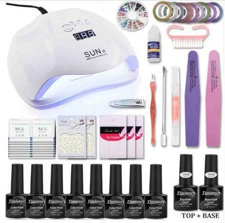 Manicure Set UV Lamp Nail Set & 8 Color UV Gel Polish Tools Set Solid Extension gel Nail Art Kits for Manicure Nail