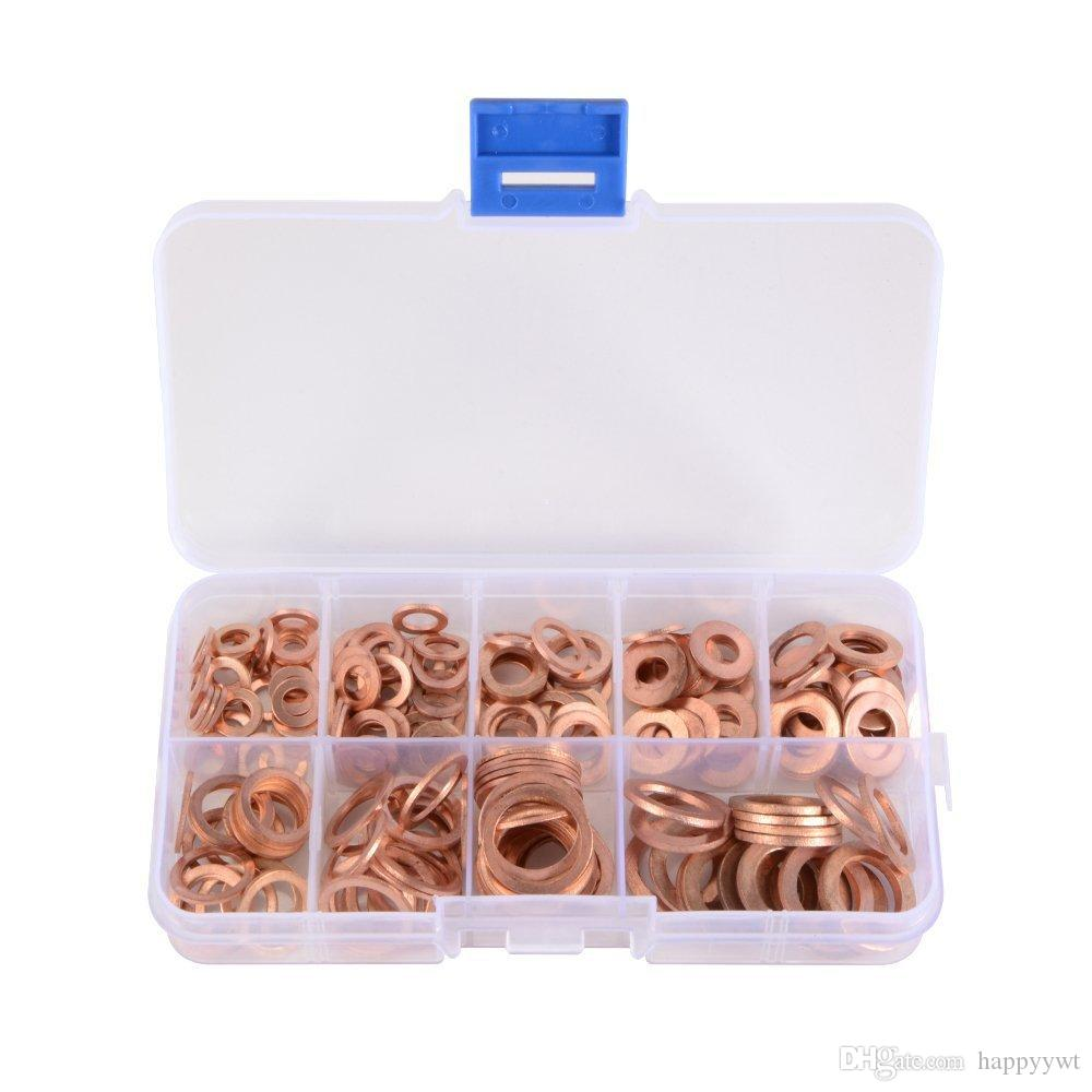 200pcs Engine Oil Drain Plug Copper Crush Washer Seal O-Ring Gasket 9 Sizes Box