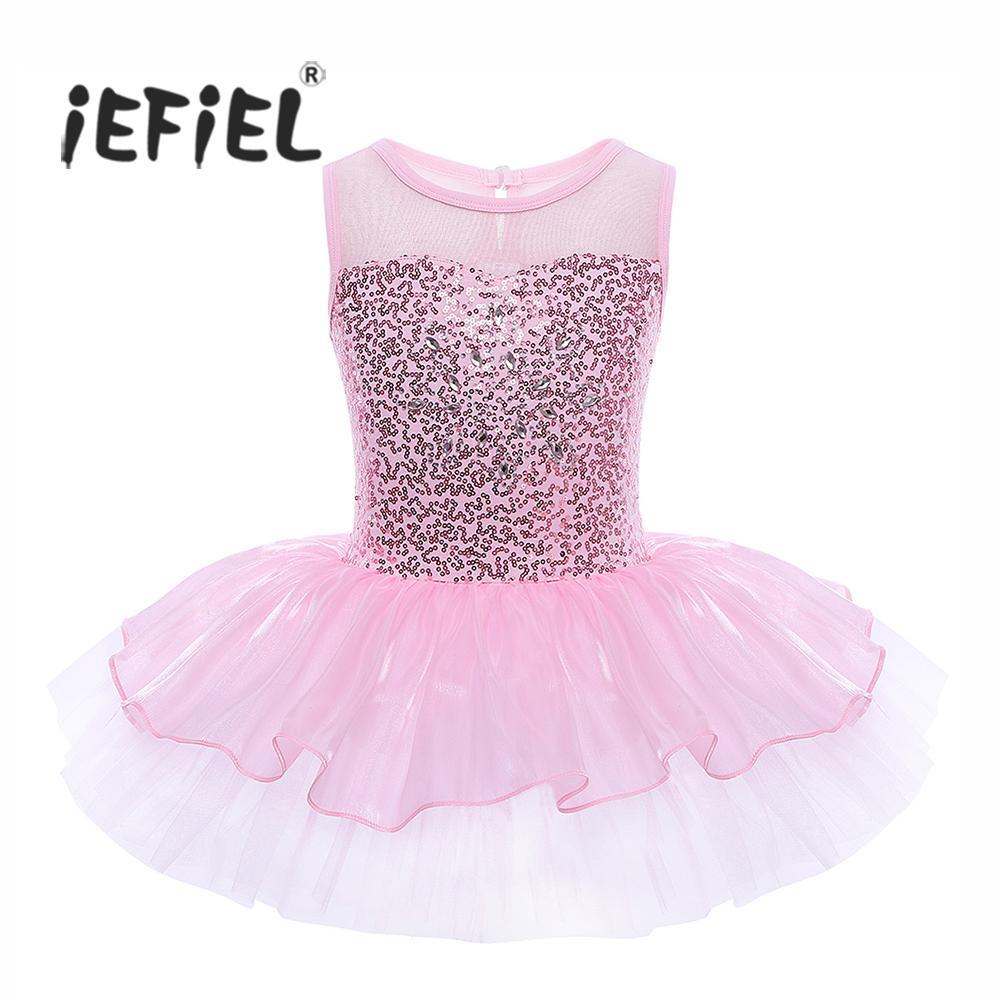 iEFiEL Girls senza maniche con paillettes danza classica danza con ginnastica leotard abito con danza classica balletto per bambini ballerina per bambini