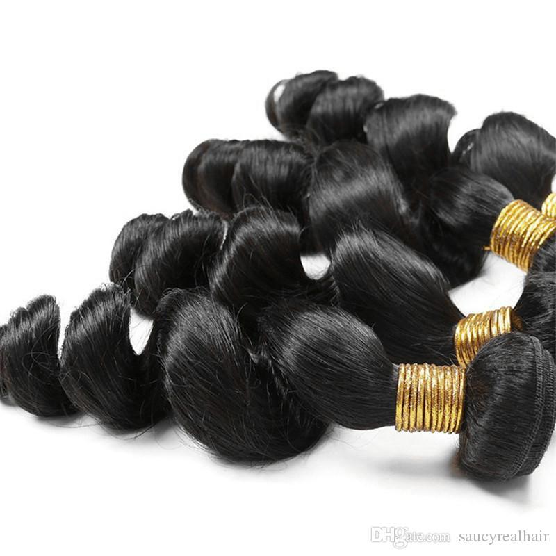 Gorąca Sprzedaż Malezyjska Luźna Fala Produkty Włosów 4 Druks 400gr Nieprzetworzone Ludzkie Włosy Splot Dziewiczy Włosy Pakiet Pięciowy Kolor Naturalny