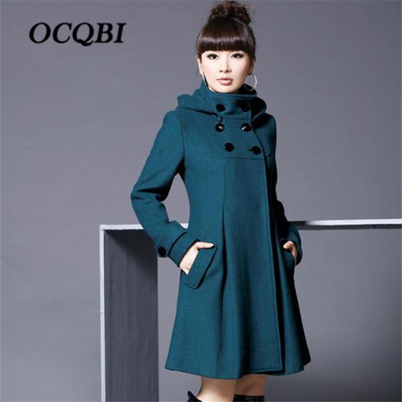 OCQBI con cappuccio di lana donne cappotto Plus Size Fashion Designer Moda Abbigliamento stile coreano aderente signore Plus Size Coat