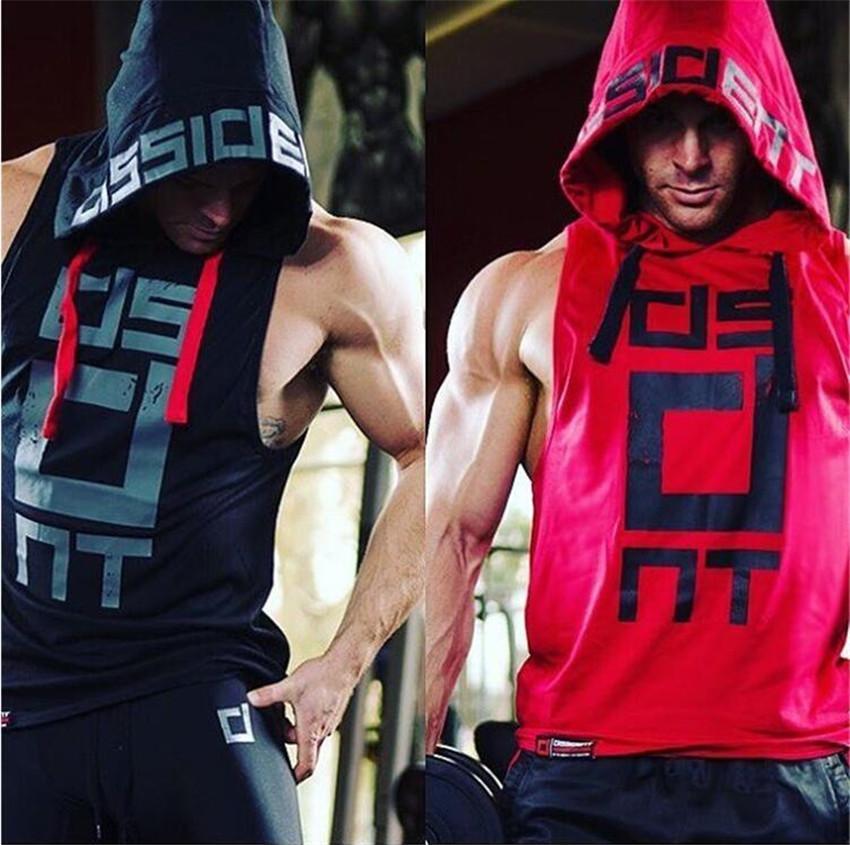 Moda Ürünleri spor Erkekler Vücut Geliştirme Pamuk Kolsuz Üst Katı Stringer Hoodie Tank Top Yaz Erkek Kapüşonlu Gömlek Pamuk