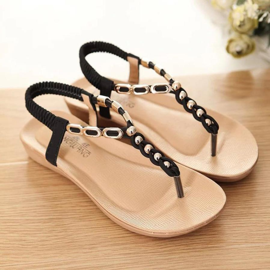 fa66ca61a XINIU Flat Sandals Women Summer Shoes Bohemia Crystal Thick Bottom Elastic  Band Sandals Beach Shoes Sandalia Ladies 36 39 Brown Wedges Gold Wedges  From ...
