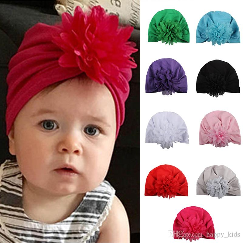 Şapkalar Yumuşak Düğüm Çiçek Şapka Bohemia Tarzı Hint Şifon Bebek Şapkaları Bebek Kız Bahar Sonbahar Kış Çocuklar Için aksesuarları