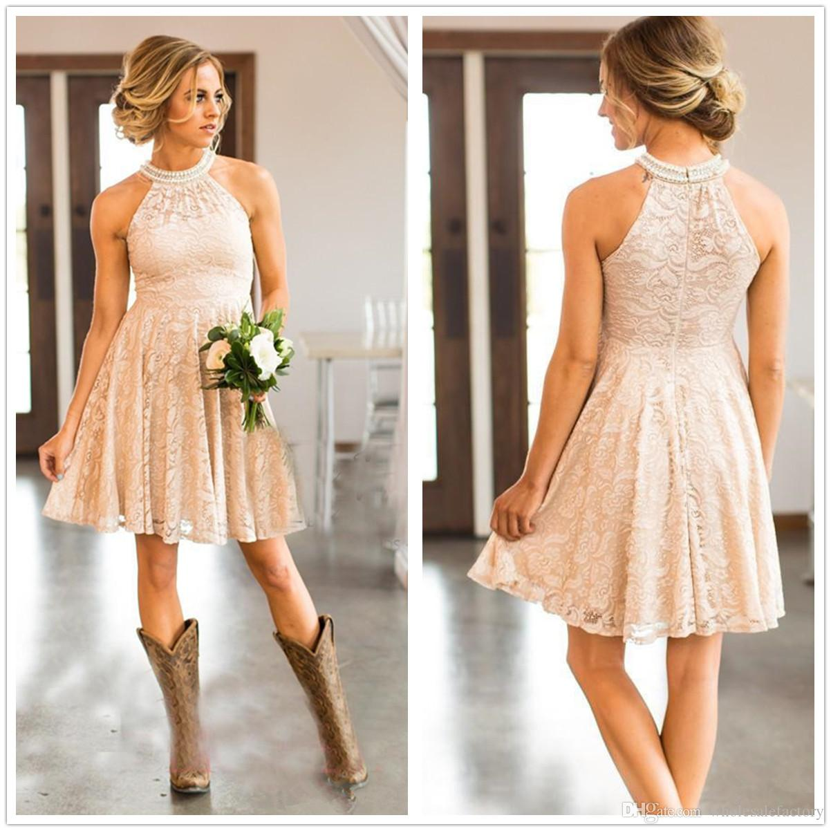 2018 Halter Lace Knee Length A Line Country Bridesmaid Dresses Beaded Short Wedding Guest Party Bridesmaids Of Honor Dresses Bridesmaid Dress With