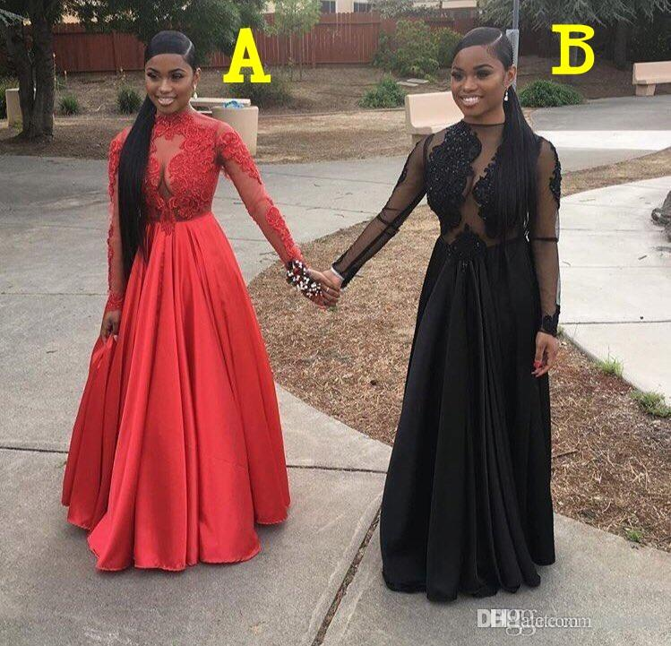 2018 sexy cheap black prom dresses formal african dresses long sleeve prom dresses
