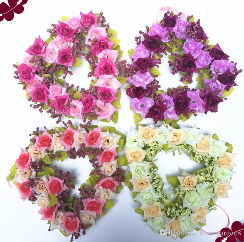 Wedding venue decoration wreath home decoration simulation flower wholesale heart-shaped wreath wedding decoration love artificial flowers