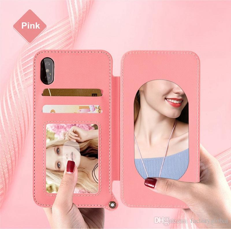 Custodia in pelle di lusso in pelle smerigliata Custodia a conchiglia con slot per schede Lanyard Bracket Make-up Mirror per iPhone X Samsung