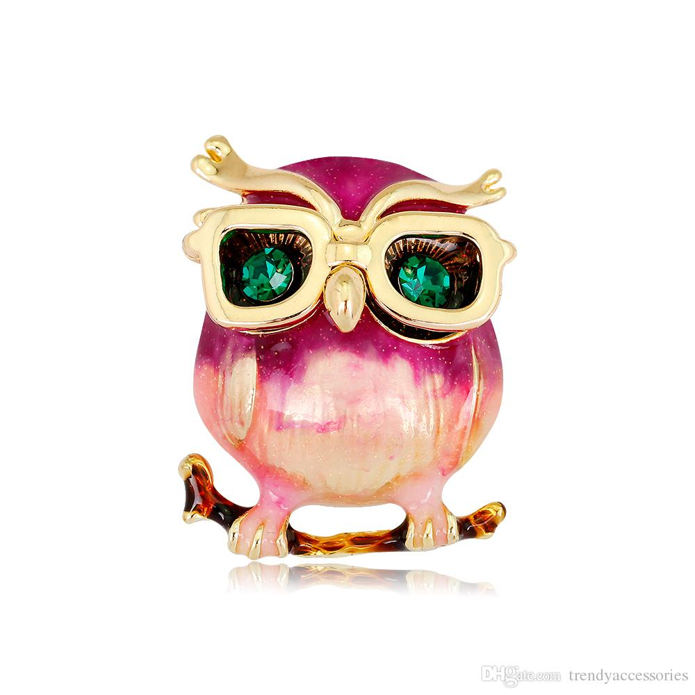 Pink enamel Owl Brooch Pin with eyeglasses Lucky Jewelry Cute Animal Brooches Garment Accessories