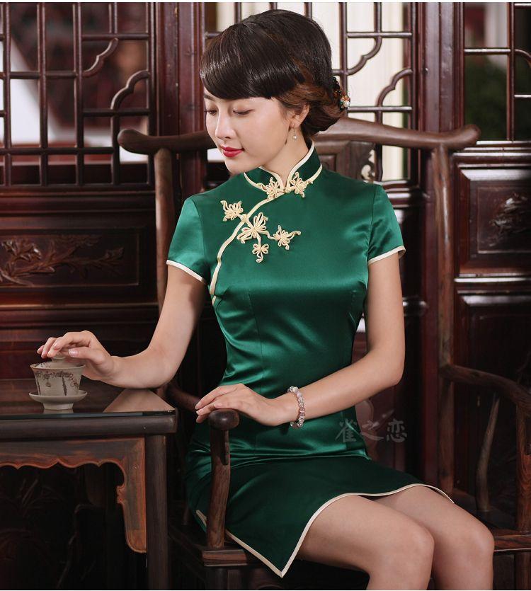 공작의 사랑 브랜드 백퍼센트 실크 상사 이야기 그린 QiPao 중국 여성 전통 짧은 치파오 레이디 개선 슬릿 실크 Qipao 드레스 Q2
