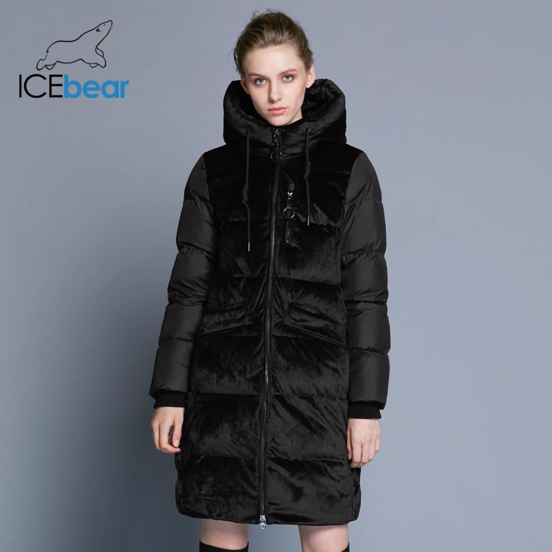 ICEbear2018 новый высокое качество зима бархат куртка толстая теплая женская куртка одежда мода повседневная женская Марка пальто GWD18080 S18101102