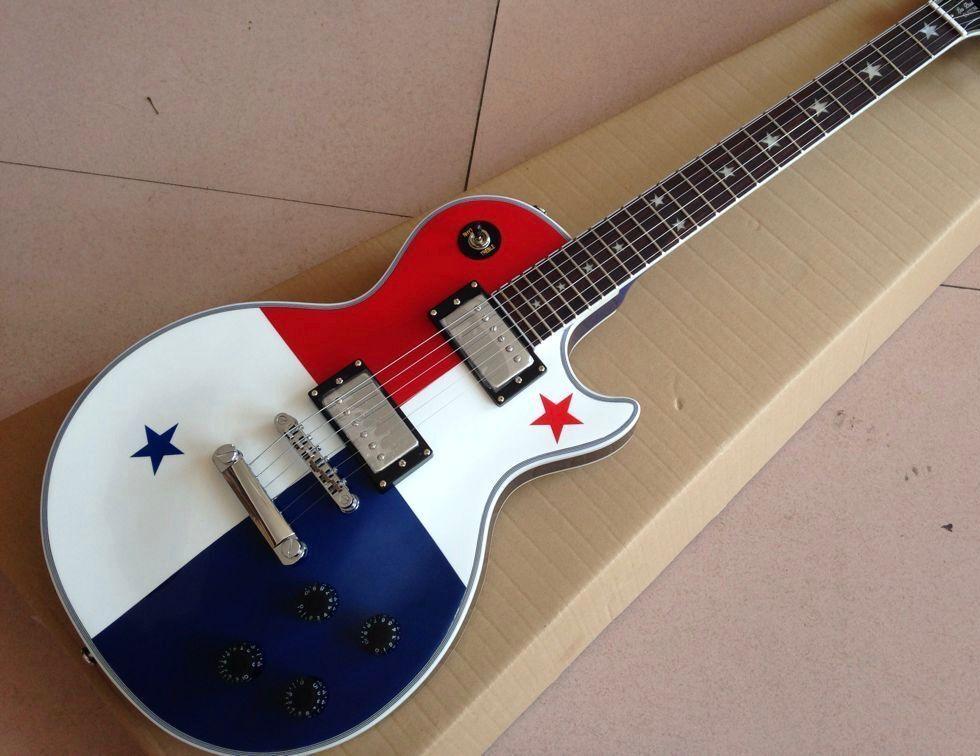 Nuovo arriva chitarra elettrica personalizzata, guitarra standard superiore di stile bandiera nazionale. Tastiera di legno. Hardware cromato. Mostra di foto reali