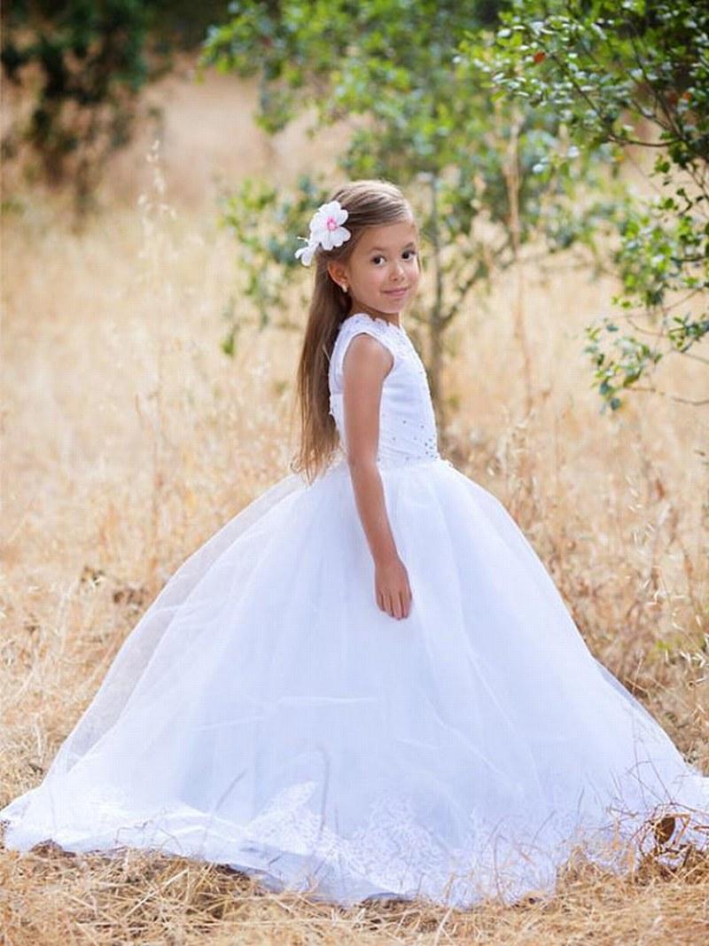 Fleurs blanches fille robe vacances anniversaire de mariage princesse dentelle blanche fille fête de la première communion