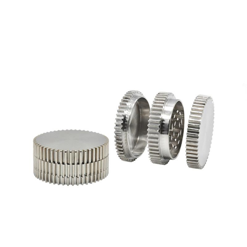 Wholesale Mini Zinc Alloy 50MM Metal 3 Parts Gear Shape Grinder Herb Grinders Tobacco Spice Crusher Hookah Shisha Smoking Accessories DHL