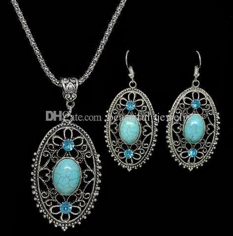 Nuevos aretes ahuecados calientes pendientes de orejas de estilo étnico amor turquesa conjunto moda clásico elegancia exquisita