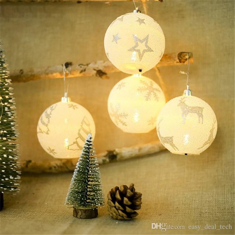 Christmas LED Light Balls Snowflake Elk Star Printing Ornaments Christmas Tree Decoration Chrismas Party Bedroom Outdoor Decor H688