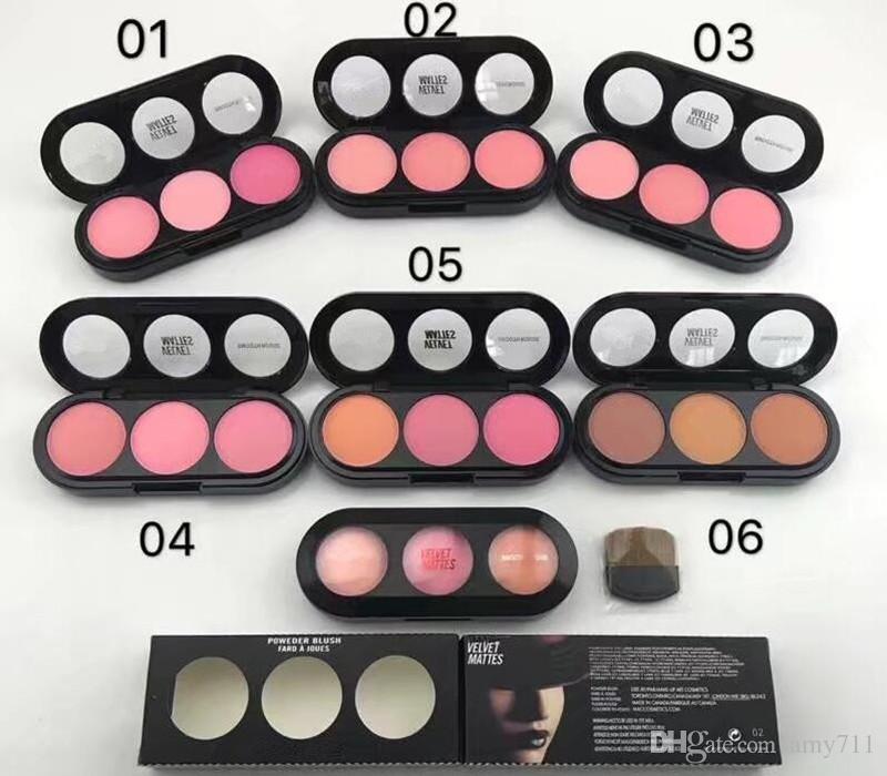 Nuevo Hot MC Velvet Mattes Blush Face Powder Blush 3colors en 1 paleta 6sets colores Face Blusher DHL envío + Regalo