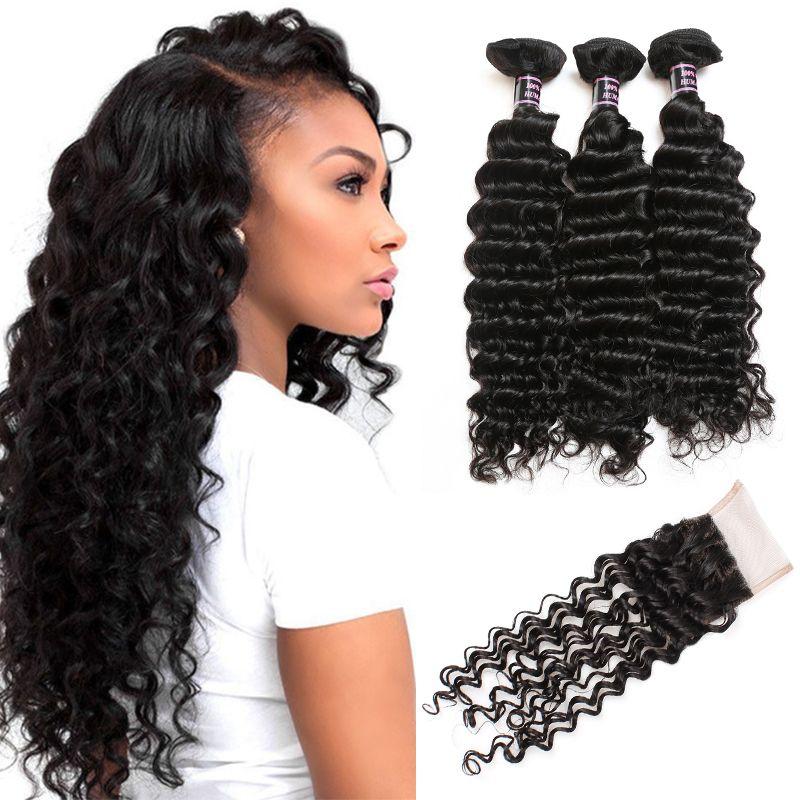 Miglior 10A brasiliano Onda profonda dei capelli ricci 4 bundle con chiusura all'ingrosso peruviano malesi estensioni dei capelli umani umani indiani del Virgin dei capelli