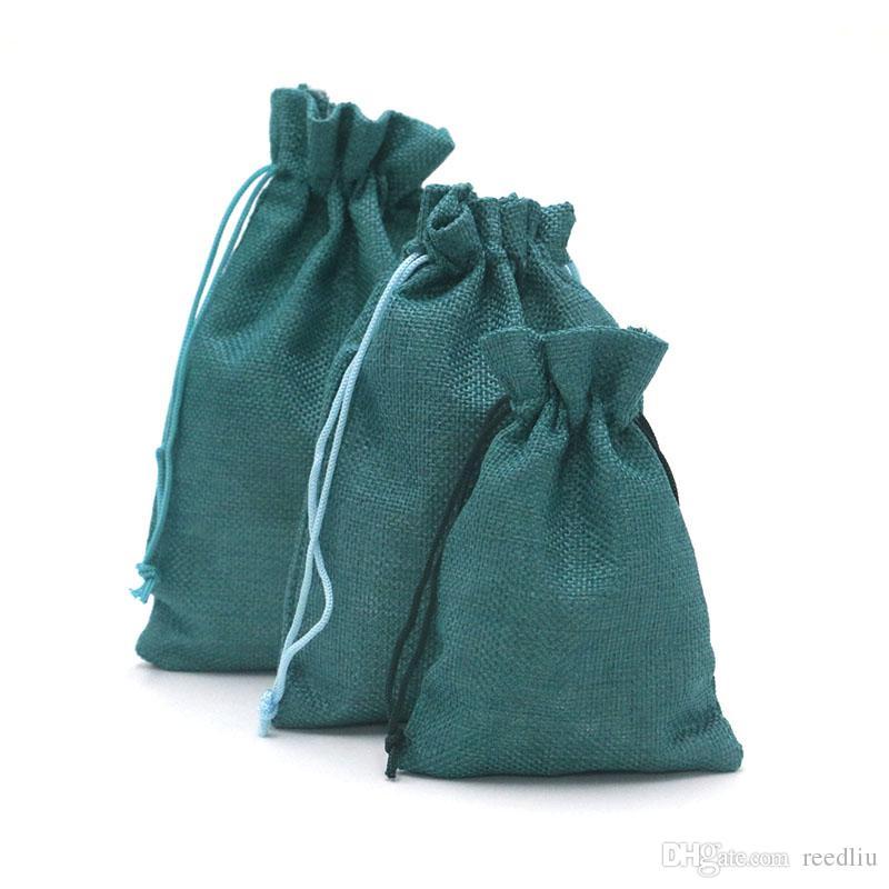 100pcs / lot Handmade 13x18cm juta Jóias Anéis doces Bolsas Tea férias Drawstring sacos para embalagem de casamento Sack pequeno favor Sachet Gift Bag