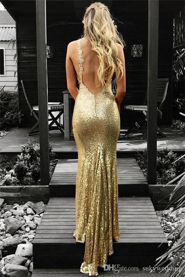 Abiti d'oro Sequins sexy dei vestiti da sera con scollo a V aperto indietro partito di promenade di usura di sera Abendkleider Woemn da Cerimonia economici