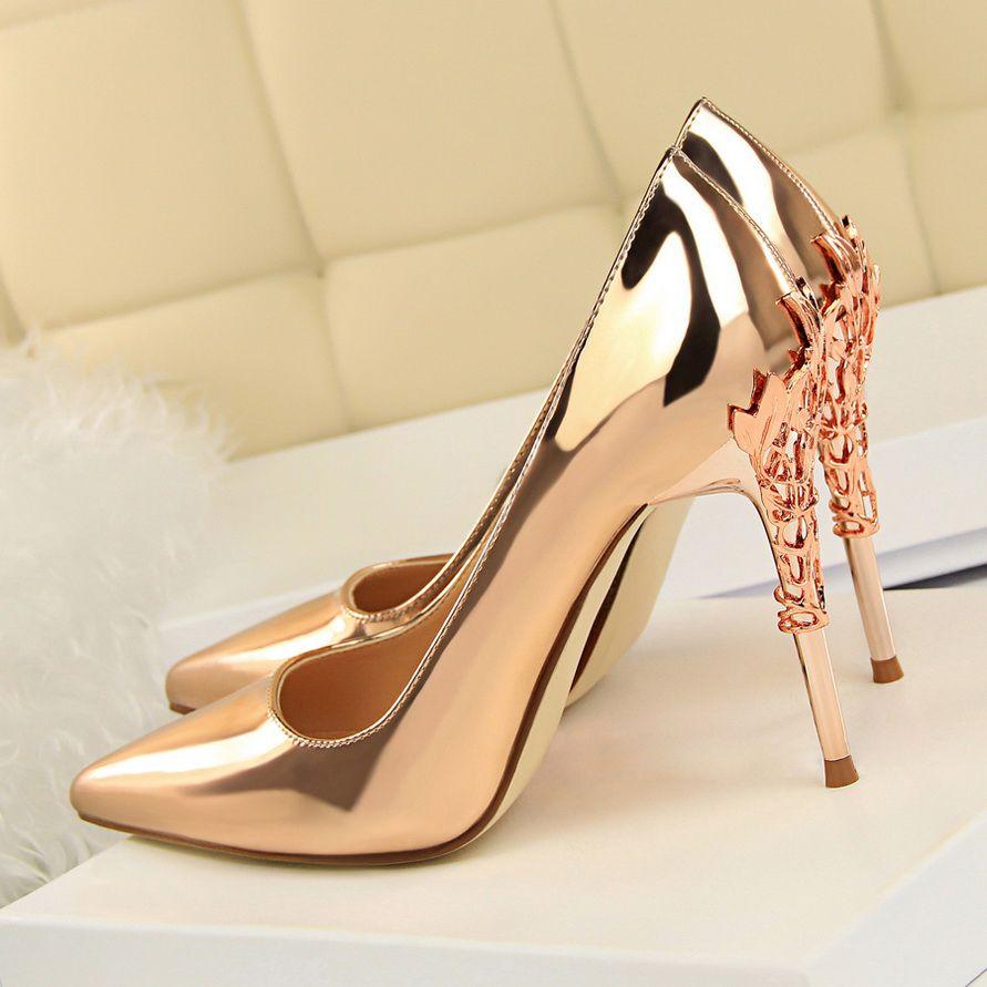 2019 Yeni Gümüş Altın Seksi Yüksek Topuklar Kadın Ayakkabı Metal Yapraklar 10 cm Stiletto Topuk Kadın Pompaları Sapato Feminino Zapatos Mujer Tacon