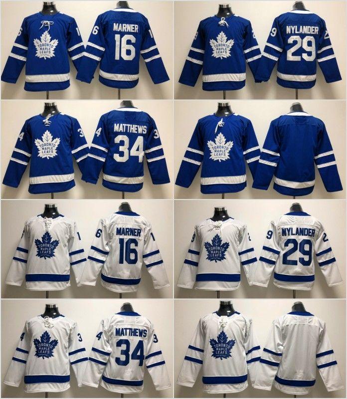 Youth Kids Toronto Maple Leafs 34 Auston Matthews Jersey 91 John Tavares 29 William Nylander 16 Mitch Marner 31 Frederik Andersen أبيض أزرق