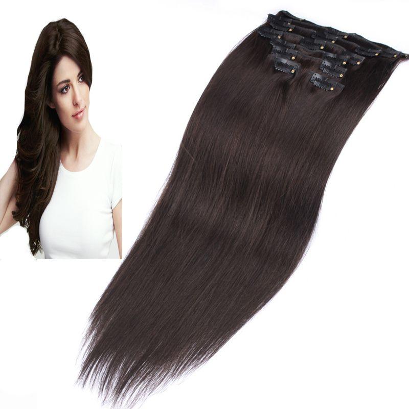 brazilian virgin hair clip in extension 100g 8pcs 100% human hair extension clip in