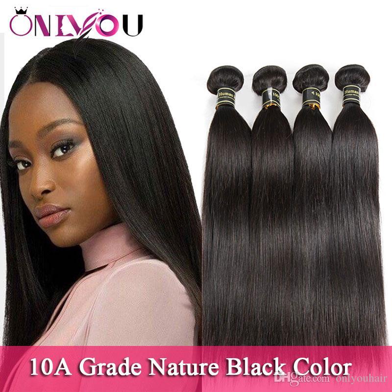 أعلى جودة عذراء الشعر ترويج البرازيلي مستقيم الشعر البشري حزم 10a الأسود الطبيعي بيرو الماليزية الخام الهندي ريمي الشعر ينسج