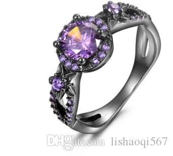 natural more color crystal jewelry storne rose flower 925 silver diamond lady's ring (9) size 6 7 8 9 10 11