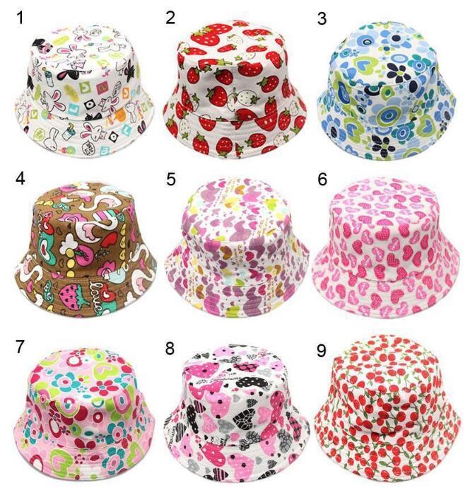 2-6 T Bebek Karikatür Baskı Kova Güneş Şapka Çiçek Çocuk Yaz Panama Kapaklar Bebek Kız Balıkçı Hasır Şapka Çocuk Boys Topee kap