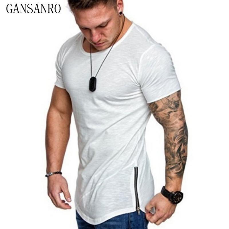 Fansion camiseta O cuello sólido color camiseta de los hombres Tops alta calidad 65% algodón culturismo estilo verano manga corta hombres