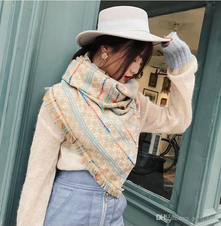 Korean Version Of The Autumn And Winter New Imitation Cashmere Scarf Female Dual-use Large Shawl Color Strip Lattice Long Knit Warm Scarf