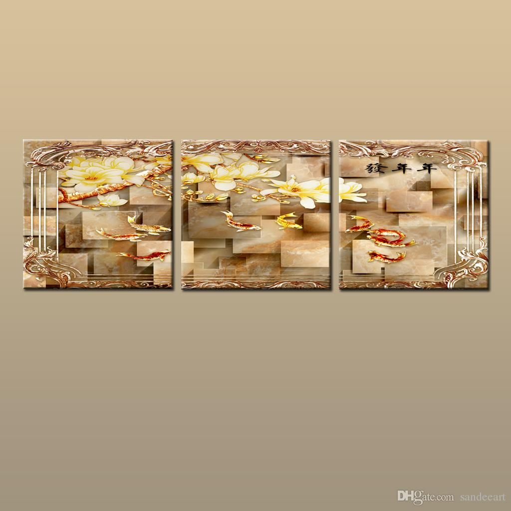 Framed/Unframed Hot Modern Contemporary Canvas Wall Art Print painting Feng shui zen koi fish Picture 3 piece Living Room Home Decor abc341