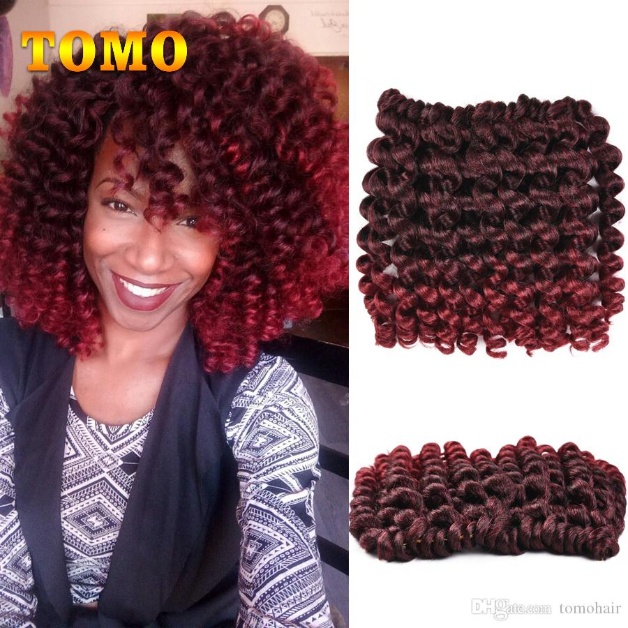 TOMO Jamaican Bounce Curly Twist Ombre Burgundy Brown Crochet Braids Wand Curl Braided Hair 8 inch 20 Strands/pack Crochet Hair Extensions