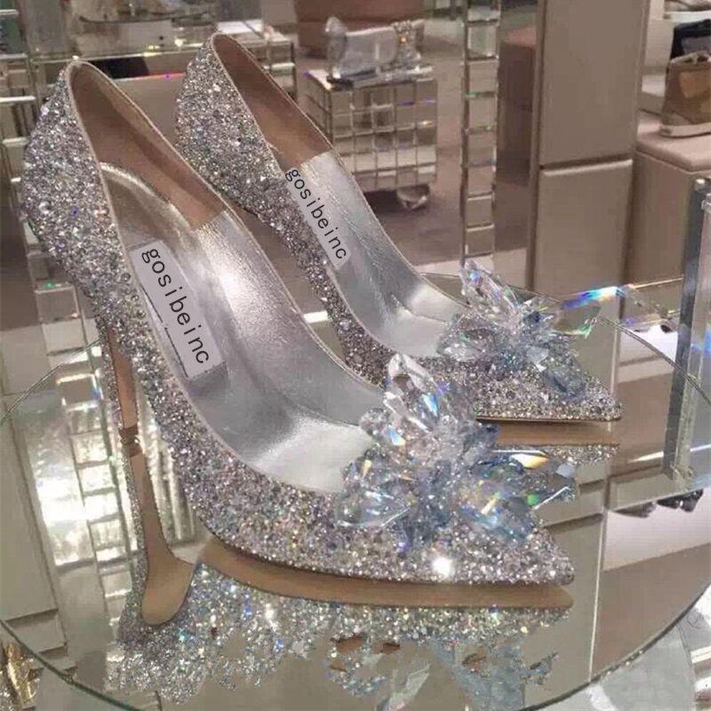 Sparkly Stiletto Heel Cristais Sapatos de Casamento Para A Noiva Frisada De Luxo Designer de Saltos Cinderela Bombas Perna Dedo Do Pé Strass Sapatos de Noiva