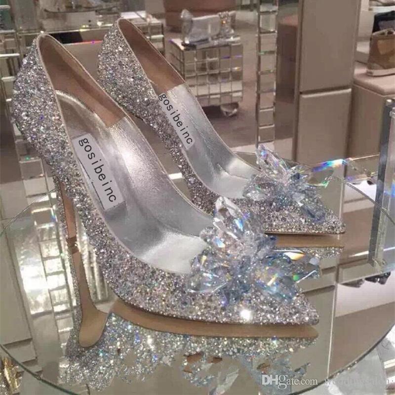 سباركلي خنجر كعب بلورات أحذية الزفاف للعروس مطرز مصمم الفاخرة الكعوب سندريلا مضخات مدبب تو الراين أحذية الزفاف