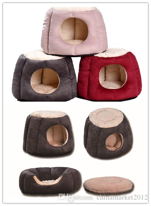 Free shipping pet dog puppy bed cat kitten house kennel soft plush classic styles three colors