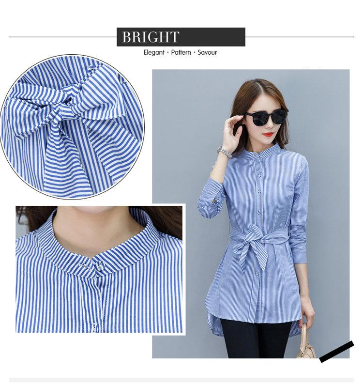 2019 Fall Women Shirts Fashion Chiffon Blouse Stripe Peplum Tops Women Bow Long Sleeve Blusas Mujer Fashion Rayas Chemise Femme (3)