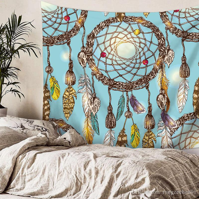 2018 HEIßER 130 * 150 cm Traumfänger Feder Tapisserie Wohnkultur multifunktions Nationalen Wind Gedruckt Decke wandbehang