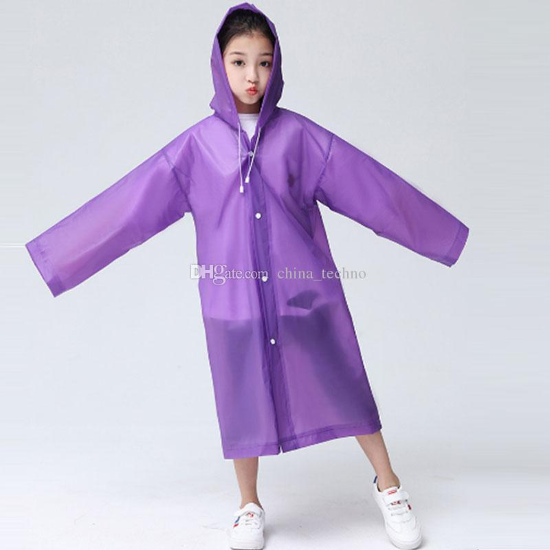 Kids EVA Raincoats Rainwear Children Rain Coat Wear Trasparenti Rain Coat Maniche lunghe con cappello per bambini Ragazzi e ragazze