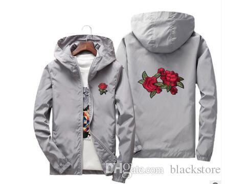 Wholesale Rose Jacket Windbreaker Men And Women &#039 ;S Jacket Spring Summer Hoodies Kid Family New Fashion White And Black Roses