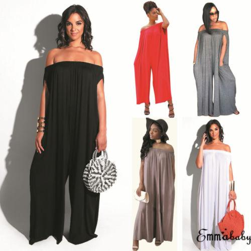 New Summer Sleeveless Bodysuits Sexy Off Shoulder Loose Playsuits Wide Leg Rompers Women Long Jumpsuit Fashion Streetwear