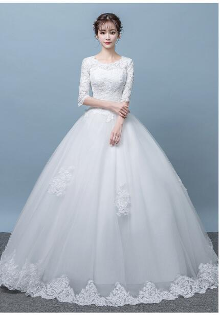Real Photo Vintage Lace Up Ball Wedding Dresses 2018 Customized Plus Size Bridal Wedding Gowns Free Shipping
