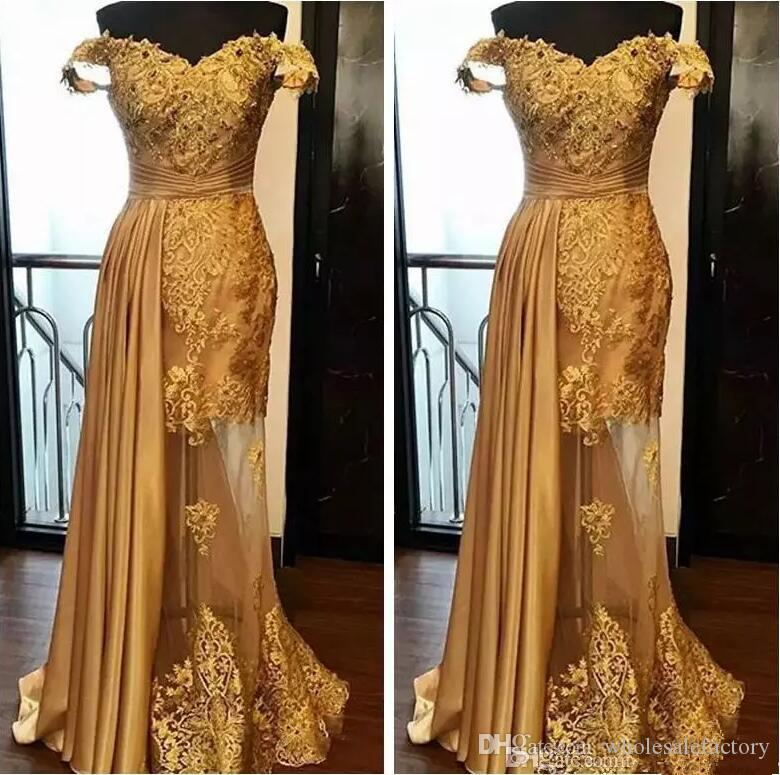 Elegant Off The Shoulder Lace Long Prom Dresses 2020 Arabic Golden Tulle Applique Ruched Beaded Floor Length Evening Gowns