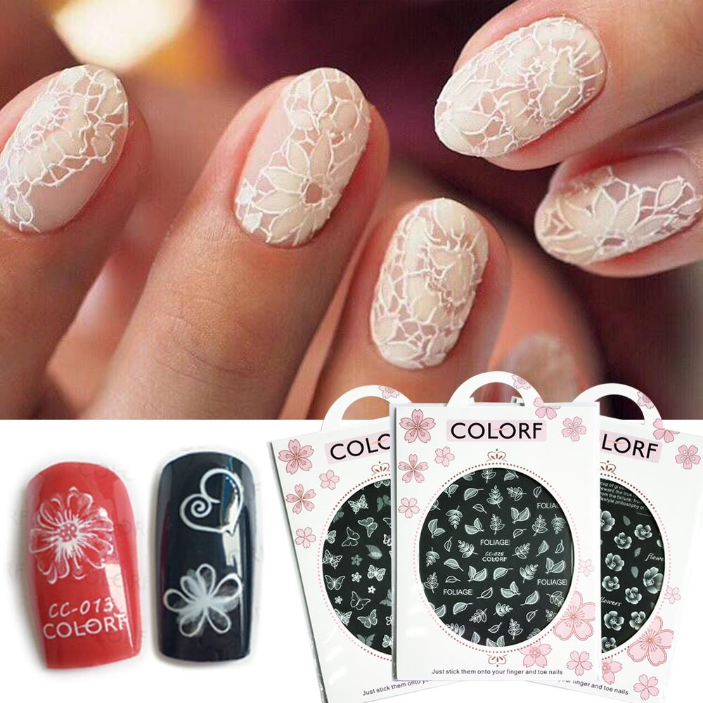 Nail Art Stickers White Flowers Lace 3D Wraps Decal Self Adhesive ...