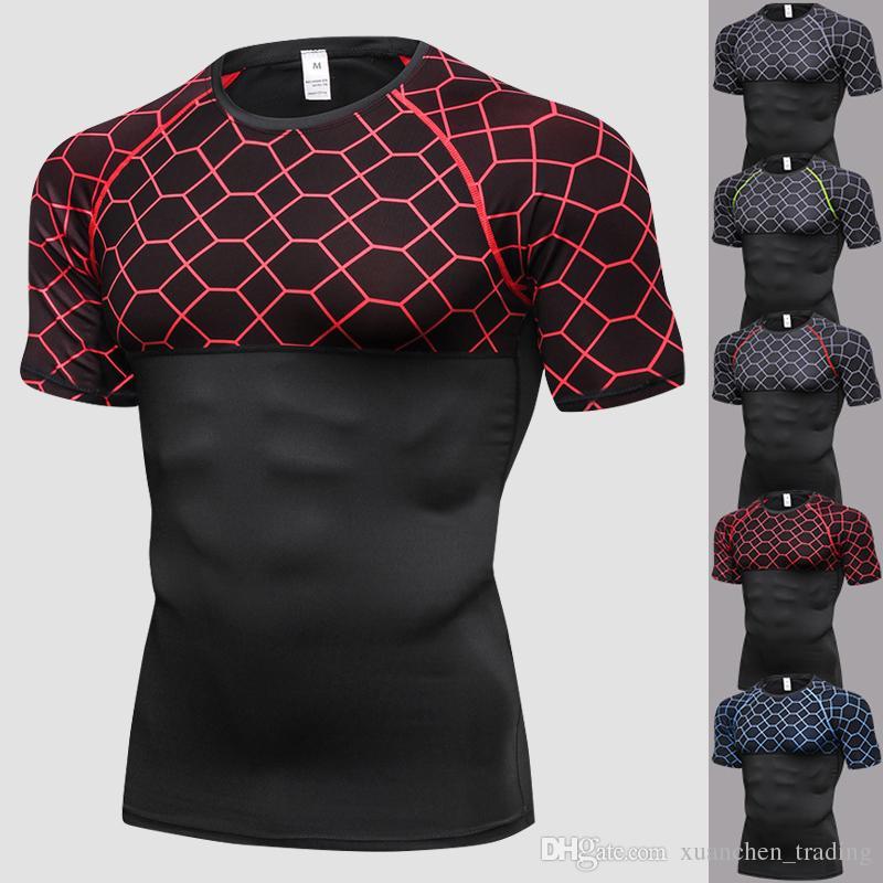 Męskie Sporty T Shirt Dla Fitness Szybki Suchy Koszula Biegowa Mężczyźni Gym Odzież Odzieca Pot Męska Soccer Jersey Gym Demix Sportswear Krótki rękaw Topy